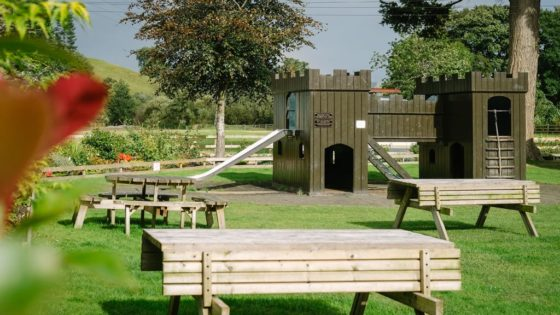 Children's play area and beer garden at Sun Inn